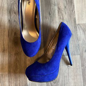 Platform Blue Suede Heel Sz 8